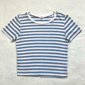 NWOT Garage Blue and White Striped T-Shirt